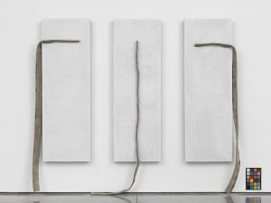 Theaster Gates  White concrete and and fire hose Overall dimensions:89 x 100 3/8 x 6 1/2 in. (226 x 255 x 16.5 cm) Triptych, left: 86 5/8 x 28 3/8 x 6 1/8 in. (220 x 72 x 15.5 cm), middle: 89 x 34 7/16 x 6 1/8 in. (226 x 87.5 x 15.5 cm) and right: 88 3/4 x 27 15/16 x 6 1/2 in. (225.5 x 71 x 16.5 cm)